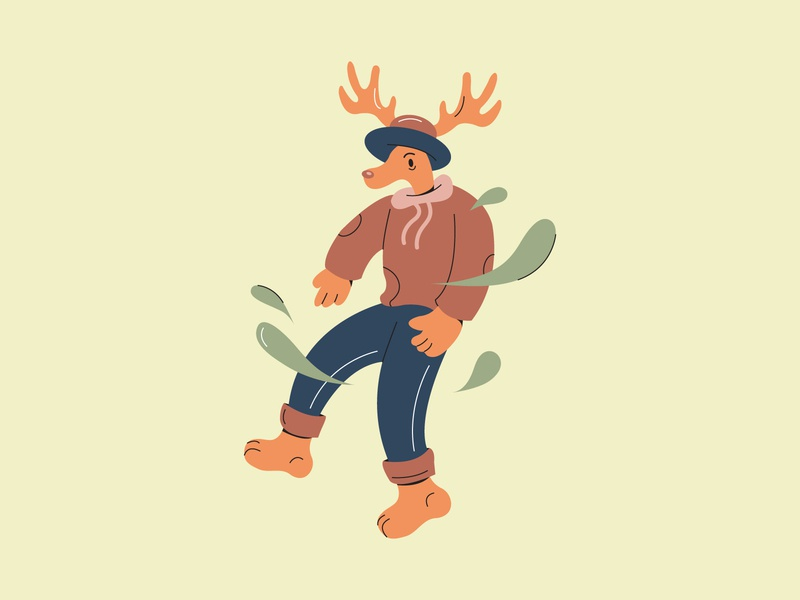 Deer Character animal character outline color vector drawing illustration design deer animal character design character flat 2d