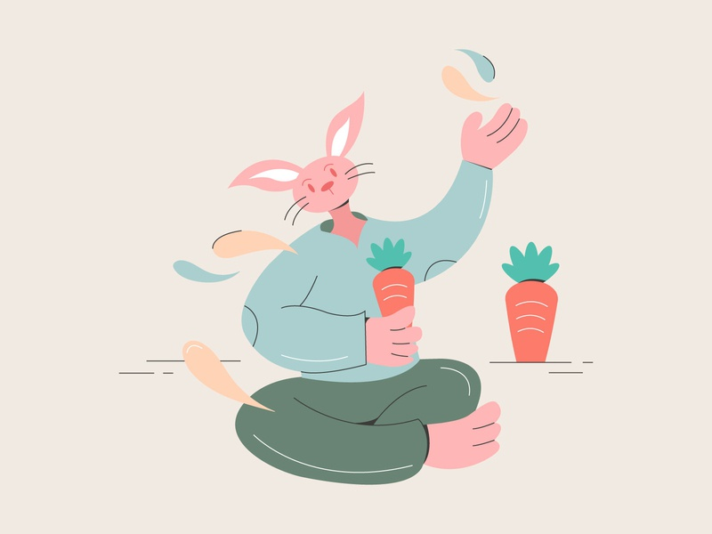 Rabbit Character animal character line carrots color vector character design character design illustration flat 2d animal rabbit