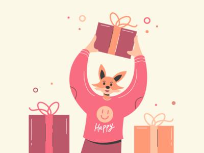 Fox Character drawn gift box present character design flat animal character 2d animal character color vector illustration design fox
