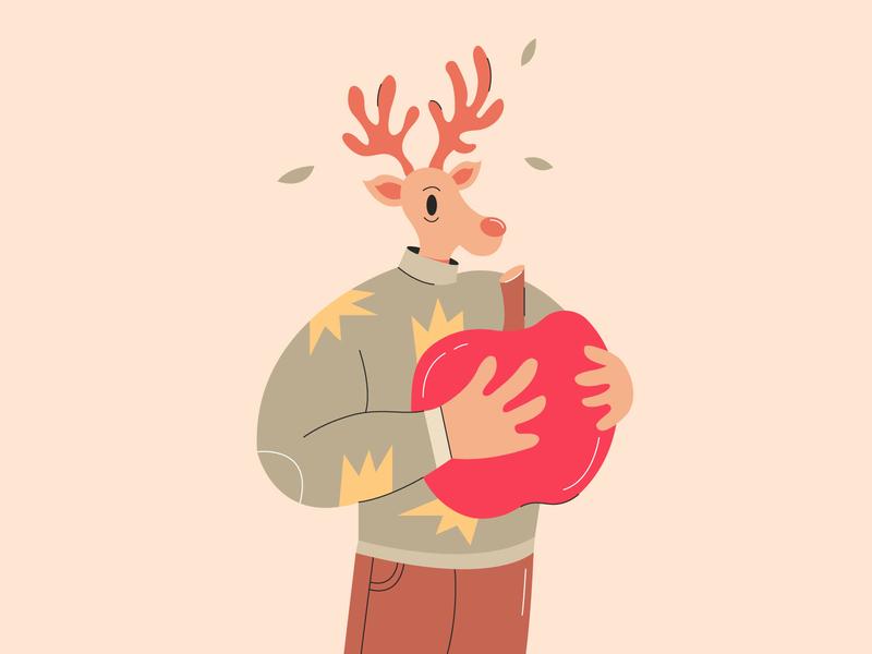 Deer character characterdesign apple 2d animal character animal character color drawing vector illustration design deer illustration deer