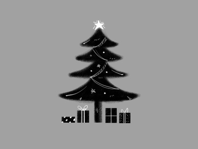Christmas Tree gift tree christmas holiday blackandwhite drawing illustration design