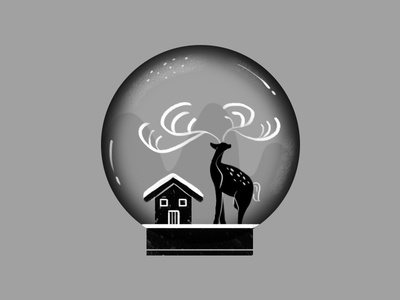 snowhouse reindeer snowhouse christmas animal holiday blackandwhite drawing illustration design