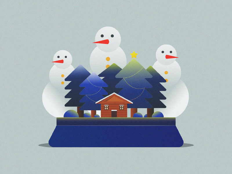 Christmas Illustration drawing snowman grain gradient christmas holiday vector illustration design