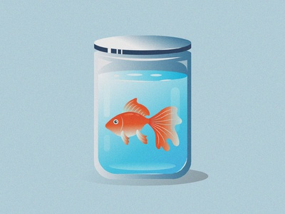 Goldfish Illustration grain texture gradient jar goldfish color vector drawing design illustration