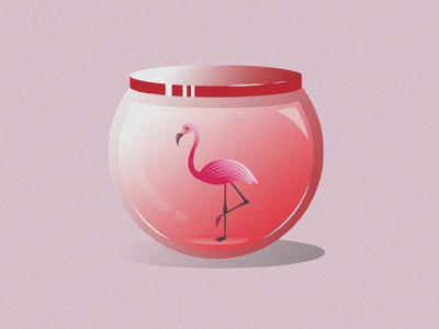 Flamingo Illustration grain texture jar flamingo gradient color vector drawing illustration design