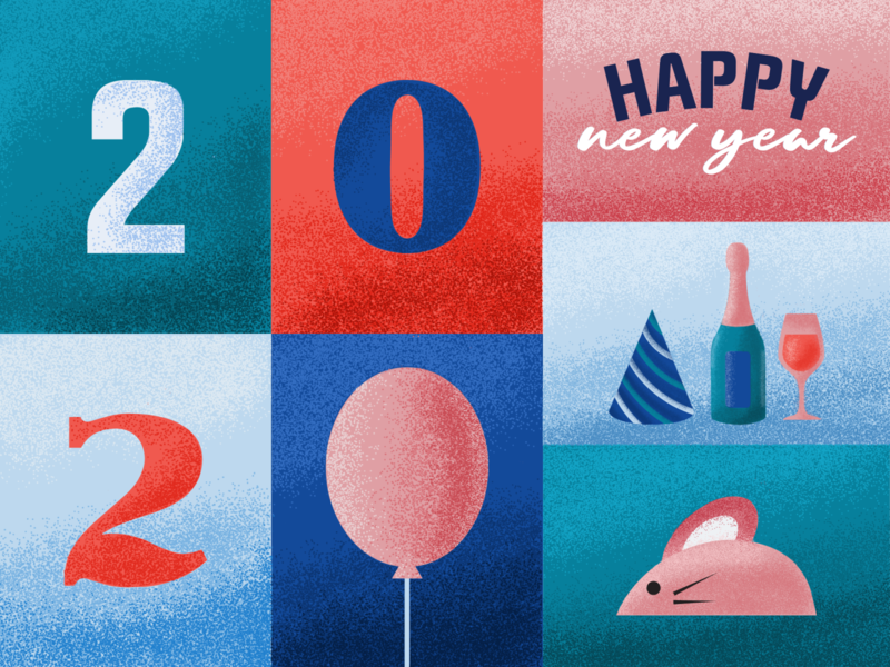 New Year Illustration 2020 grain texture mice tyography color vector drawing illustration design new year 2020