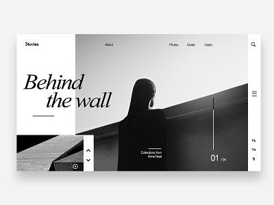Behind the wall designer clean brand identity identitiy graphic design uiuxdesign web design web visual design design ui typography minimal layout landing page interface branding adobe
