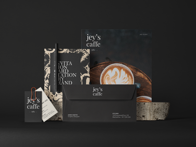"""Identity Design """"jey's caffe"""" shapes colors stationery packaging designer brand visual layout identity branding design"""