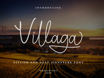 Villaga 1st Preview illustration logo business font design handwriting hand lettering typeface handwritten signature stylish font