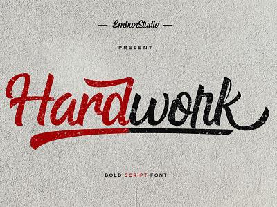 Hardwork Bold Script Font typography branding modern logo handwritten handwriting hand lettering font design font business