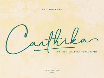 Canthika Luxury Signature Font modern typography typeface logo handwritten handwriting hand lettering font design font business