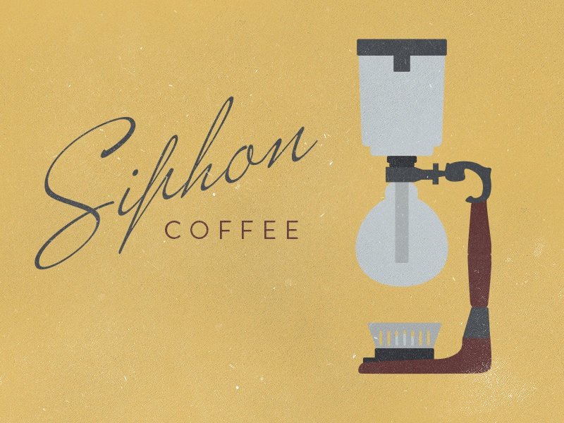 Siphon Coffee illustration vector logo rough faded coffee yellow typography