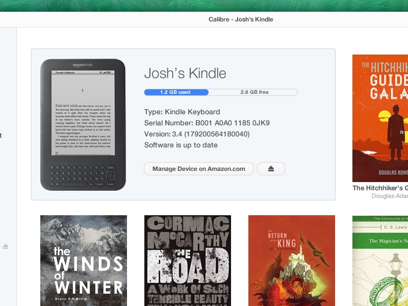 Calibre Redesign - Manage Device app ui mac library interface light flat mavericks kindle
