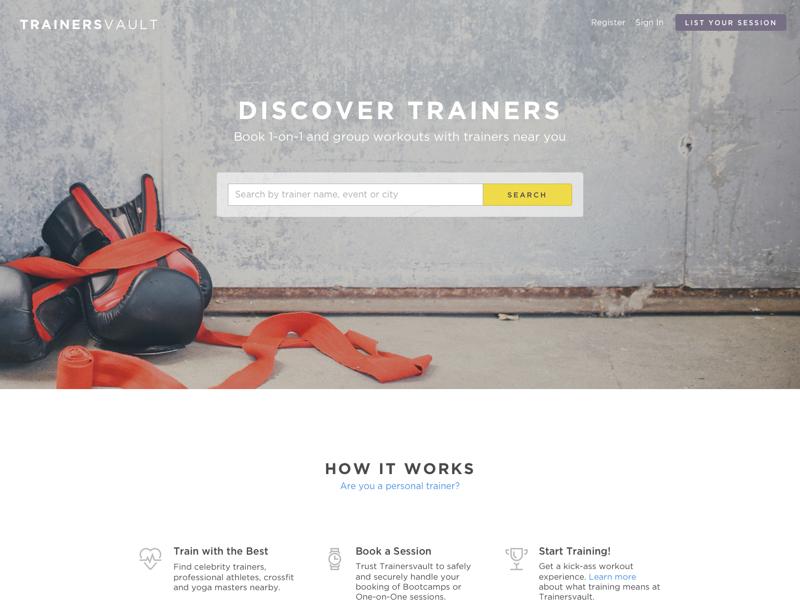 Trainersvault Website Design Idea search header homepage website