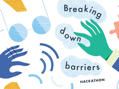 Breaking Down Barriers accessibility hands chunky texture illustration design hackathon poster