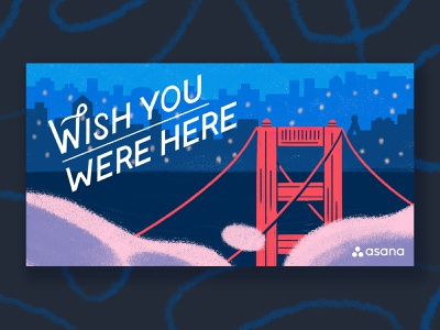 Wish you were here lettering typography texture paint vintage illustration