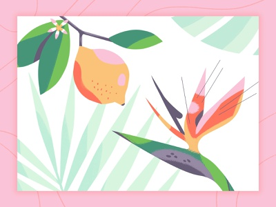 Birds of Paradise lemon bird of paradise plant mural brush texture photoshop illustration