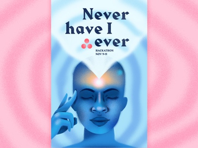 Never have I ever weird hackathon poster color portrait gritty metaphysical texture photoshop illustration