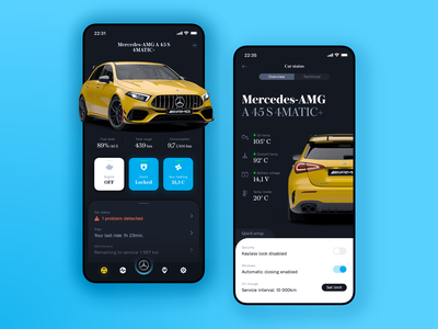 𝐌𝐄𝐑𝐂𝐄𝐃𝐄𝐒 ⦙ Connect Me App blue yellow motor wheels iphone dashboard concept ui remote dark amg mercedes-benz car app mobile mercedes