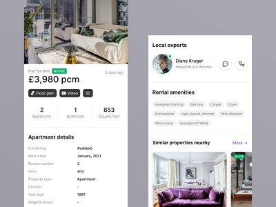 Property Solutions & Services price navigation property figma list map search uk london apartment house rent flat design concept mobile app ui