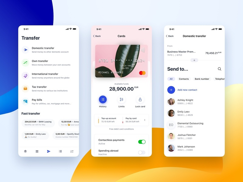 Bank One - Mobile Transfer banking invoice payment contacts bank card account transfer bank money ui concept mobile app