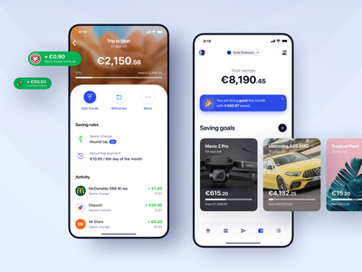 Bank One - Saving Goals saving data account concept funds ux ui dashboard android iphone ios mobile banking wallet goal savings money app bank money transfer money