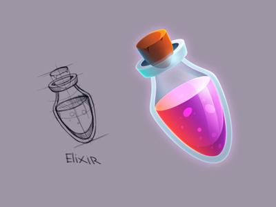 Elixir bottle icon ui magic game tube elixir sketch