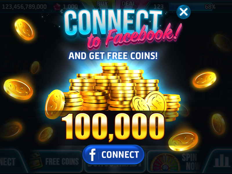 Connect coins design ads popup casino slots game ui tittle facebook fb