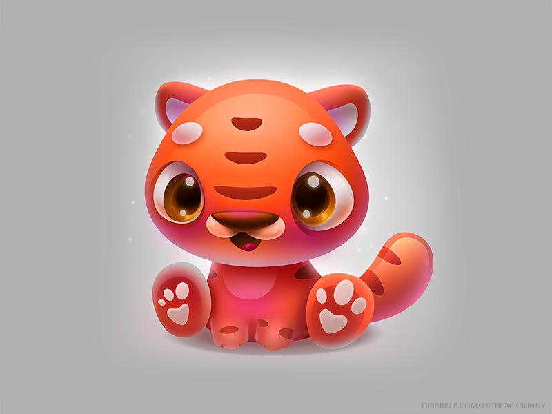 Tiger 2 art orange sticker character design cat game ui animal icon tiger