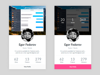 Day 019 - Dribbble Profile Card info profile dribbble stats player card clean design ui