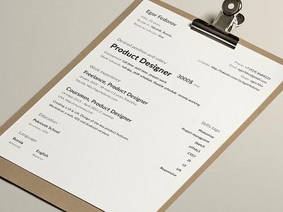 My clean cv-resume sketch template cv resume