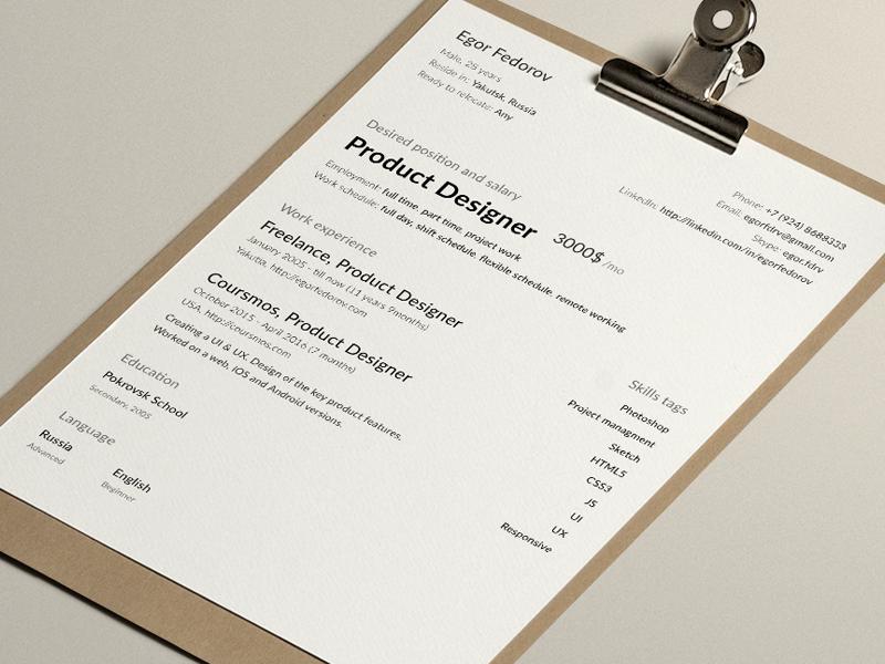My clean cv-resume by Egor Fedorov on Dribbble
