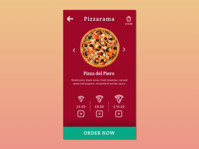 Mobile Pizza Order mobile interface food order pizza app mobile ux ui mobile app design