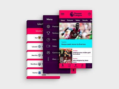 Premier League Mobile App Design football app hamburger menu user experience design native app mobile interface premier league ux ui app mobile app design