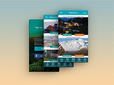 Travel App UI Design ui ux mobile app travel app sign up screen mobile navigation mobile interface native app user interface design user experience design