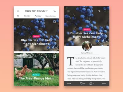 Food Magazine App UI Design