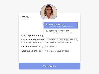 Profile Module profile module interface care carer profile card profile web app app design ux ui