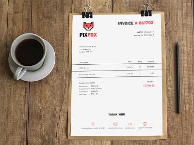 Pixfox Invoice Design template print designer pixfox receipt invoice