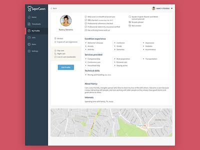 Care App Profile Screen profile edit profile app web app care platform dashboard ui interface linkedin carer about