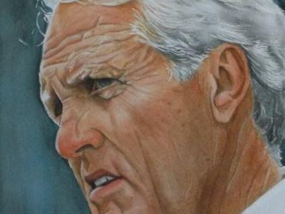 Bill Walsh (Watercolour 2010) watercolour painting portrait football nfl 49ers bill walsh