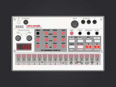 Korg Volca Sample vector electronic music midi music instrument music sampler sample volca korg vector illustration sketchapp