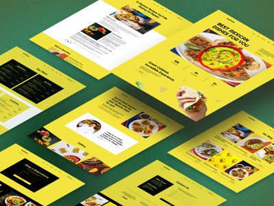 Mexican restaurant website. landing cafe yellow template dishes food mexican restaurant design interface ui website webdesign