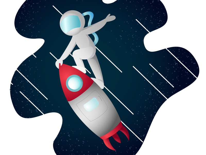 Astronaut's Day illustrator rocket astronaut texture vector illustration design character drawing colors boy