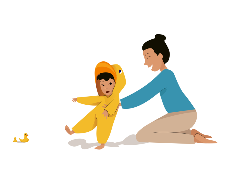 Growing duck 🐣 growing family mother game duck caring care baby cute vector illustrator girl design boy illustration drawing colors character