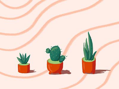 Plants Love photoshop pots drawing artwork colors sansevieria aloe cactus cacti suculent flowers illustration design art