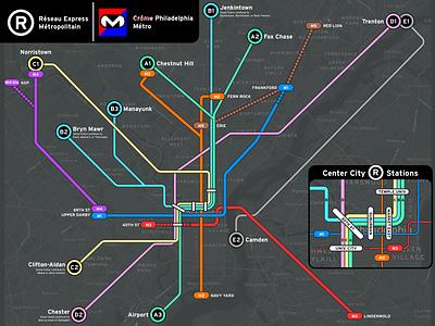 SEPTA, but make it like Paris! illustration vector transit map paris septa map transit philadelphia