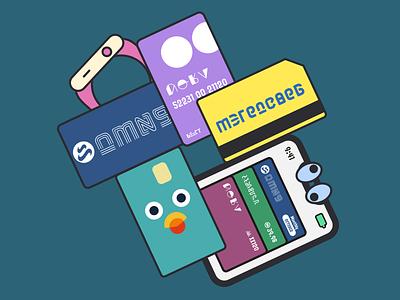 Transit Cards transit illustration flat vector transit cards