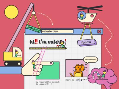 our (s)elves, building a website together!! vector cublic design flat illustration