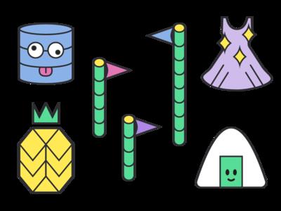 Various Illustrations outline flat vector cubic design