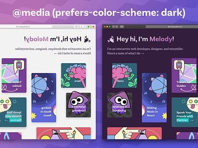 CSS Dark Theme! xoxo purple sass css website